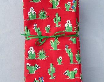 Vintage Cactus on Red 100% Cotton Napkins