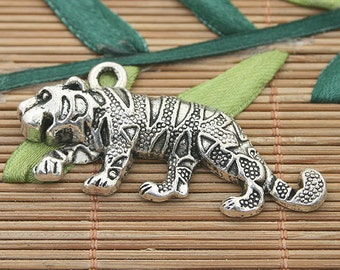 5pcs dark silver tone tiger charms h3189