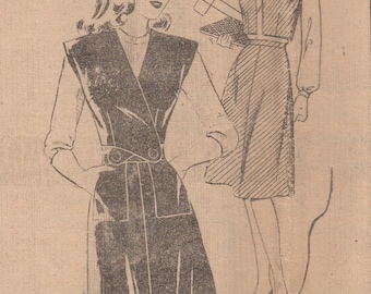 Bust 32-FACTORY FOLDED 1940's Misses Skirt and Bolero Mail Order Pattern 2532 Size 14 Waist 26 1/2 Hip 35