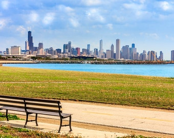 Chicago Skyline Willis Tower Lake Michigan Art Photography Print Wall Decor