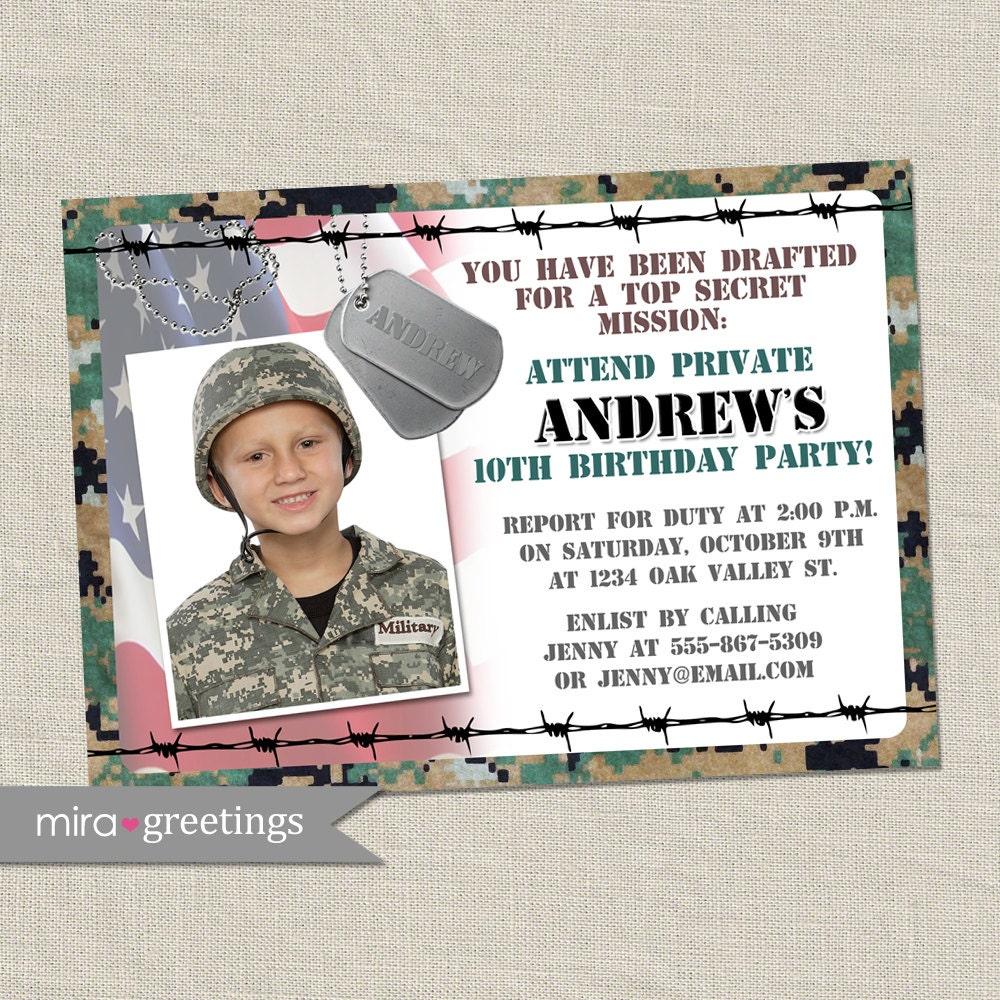 Military Birthday Party Invitation - Camo Invites - Army Party ...