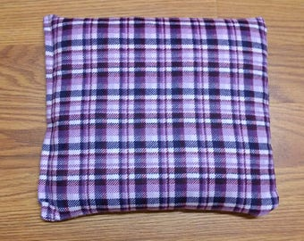 Rice Bag or Corn Bag -Heating Pad - Ice Pack -Microwavable- Freezable- Purple Plaid- Pick Your Own Fill-  Approx 8x10