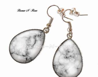 Drop earrings white faux marble jewelry metal argentéverre gift
