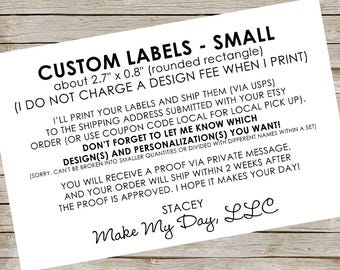 "Custom Labels - small ~ about 2.7"" x 0.8"" (rounded rectangle) ~ RESERVED for Facebook friends"
