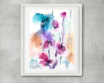 Abstract botanical painting, bright colors painting, ORIGINAL watercolor painting, modern watercolour floral art