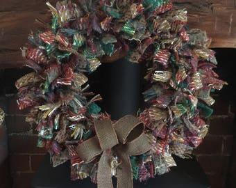 Handmade rag wreaths and hearts.