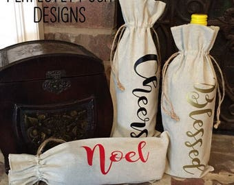 Wine Bags for any Holiday. Made of reusable linen. Thanksgiving, Christmas and Monogrammed Initals. (Heat transfer)