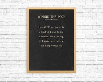Winnie The Pooh Quote, Winnie The Pooh Art Print, Nursery Decor, Nursery Art Print, Word Art, Word Picture, He Said