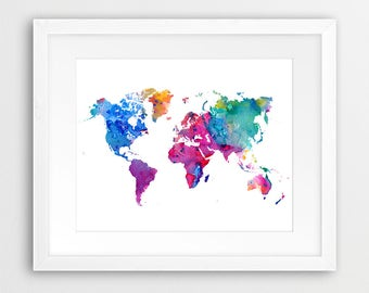 World map watercolor print world map poster watercolor grey world map watercolor print world map poster watercolor blue violet green modern wall art gumiabroncs Gallery