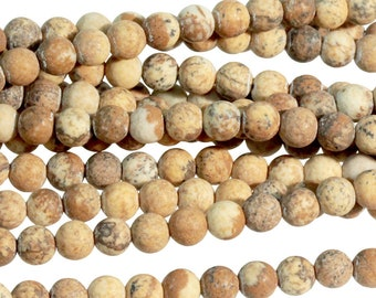 "Dakota Stones Matte Picture Jasper 4mm Round Gemstones. 8"" Strand. PJR4RD-M-8"