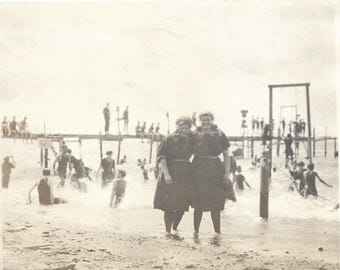 "Vintage Snapshot ""At The Seashore"" Girls Wearing Old-Fashioned Swimsuits Pose In Front Of Pier Beach Photo Found Vernacular Photography"