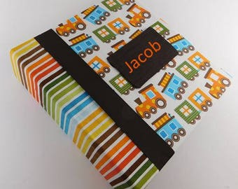 Baby Memory Book Boy baby Photo Album Train School Scrapbook Personalized Pregnancy Journal Gift 4x6 5x7 8x10 Picture Orange Blue Stripe
