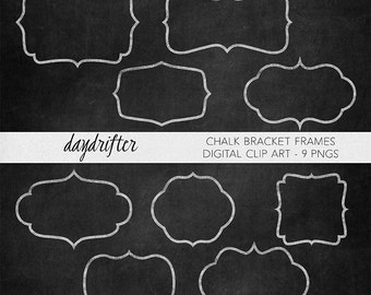 White Chalk Bracket Frames and Printable Label Shapes - Photo Overlays - Scrapbooking Digital Clip Art PNGs -Commercial Use Instant Download