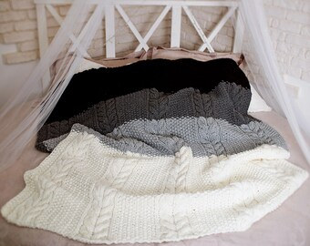 Giant Knit Blanket, Cable Knit Throw, Huge Knit Blanket, Grey Cable Knit Blanket, Knitted Afghan, Big Knit Blanket, Good Housewarming Gift