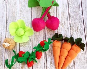 Veggie & Fruit Felt Food Set, Felt Food, Garden, Felt Food set, Montessori Toy, Eco-friendly, Felt Vegetables, Felt Fruit, Play food