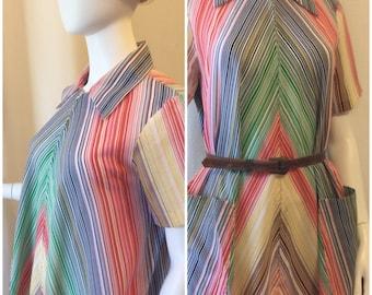 l. Appel 1960s Multicolor Pinstripe Dress