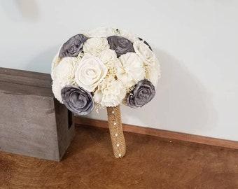 Wedding bouquet, Sola wood Bouquet, Burlap Bouquet, Grey Bouquet, Alternative Bouquet,  Bride Bouquet, Sola flowers, Wood Bouquet