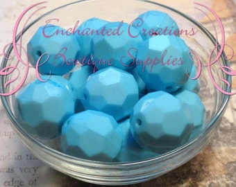 22mm Light Blue Faceted Acrylic Beads 8pcs, Light Blue, Robin Egg Blue, Chunky Beads, Bubble Gum Beads, Gum Ball Beads, DIY Beads