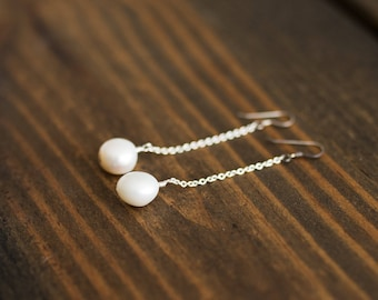 Freshwater Pearl Chain Earrings