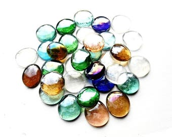 15 Glass Stained Cabochon 30 mm Pebble Crystal Rainbow Polished Tumbled Nuggets Decorative Stones Multicolor Clear Mosaic Garden Decor Tiles