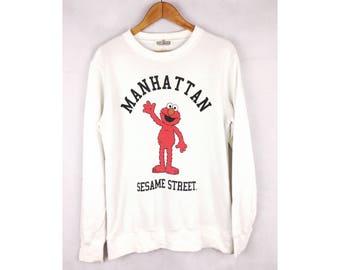 SESAME STREET Elmo Cartoon Big Logo Manhattan Big Logo Spell Out Medium Size Sweatshirt