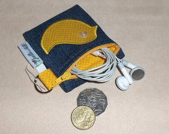 """Coin Purse for Keyrings Mini - Carry SD cards, USB sticks, coins, cards, lipgloss in """"Yellow Polkadot"""" by Joella Hill Australian Seller"""
