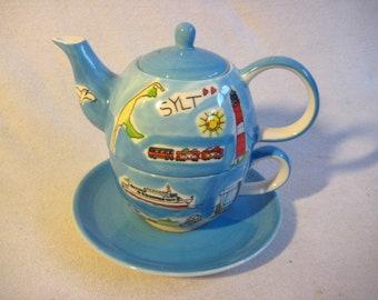4-piece teapot- saucer porcelain beach Sylt -Tea for one*