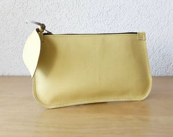 Lemon Yellow Leather Clutch. Small Leather Cosmetic Pouch. Leather Makeup Bag. Passport Leather Pouch. Coin Purse.