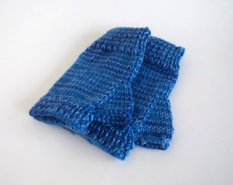 one of a kind fingerless mittens-- the condyle in variegated blue ombre