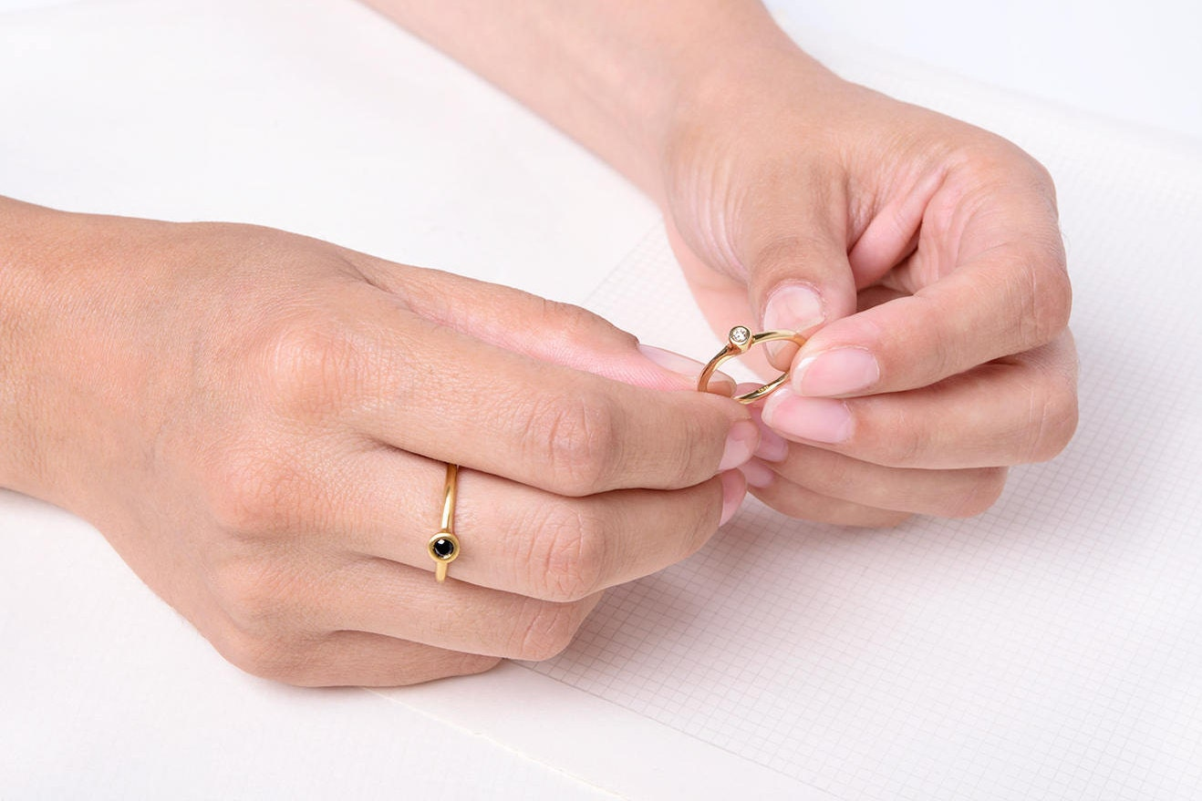 Dainty Black Diamond Ring 18k Solid Gold Black Diamond Ring