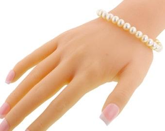 Pearl Stretch Bracelet / Simple Pearl Bracelet / Freshwater Pearl Bracelet / White Pearl Bracelet / Classic Jewelry / 7.5 Inch/Pearl Jewelry