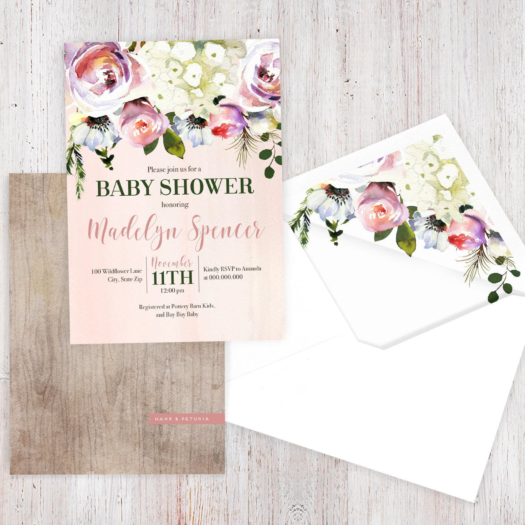 Rustic Pink Floral Baby Shower Invitation, Winter Floral Baby Shower ...