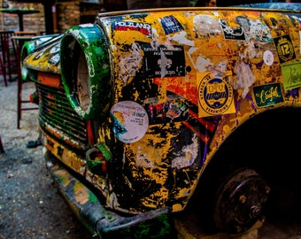 Old Trabant Car Covered In Graffiti Print | Urban Photography