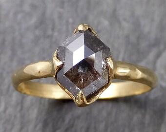 Fancy cut salt and pepper Diamond Solitaire Engagement 18k yellow Gold Wedding Ring Diamond Ring byAngeline 1105