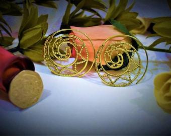 Indian Brass Spiral Thread  Earrings