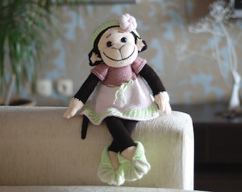 Monkey Girl in the pink dress PDF knitting pattern. Knitted in the round. Baby shower gift.  Nursery decoration
