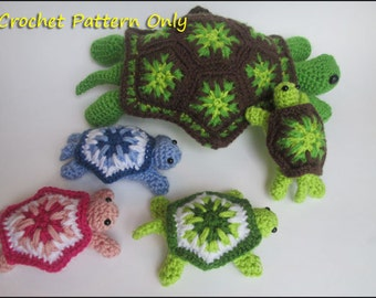 Turtle CROCHET PATTERN - Mommy Turtle and Baby Turtle Rattle