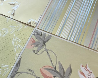 Pack of (4) -  Yellow/Pink Floral Vintage Wallpaper Pack, 11x14 size