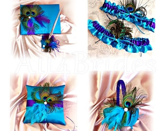 Turquoise and Regency Purple peacock wedding basket, ring pillow, guest book and bridal leg garter set