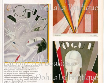 1926 Vogue Digital Flapper Fashion Wine Labels Collage Sheet Trio Geometric Art Deco Covers Tags Printable Hostess Gift Download Print Set 3