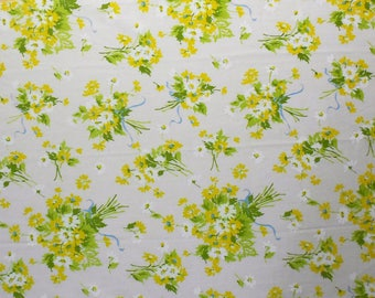 White and Yellow Daisies with Blue Bows on Vintage Sheet Fat Quarter