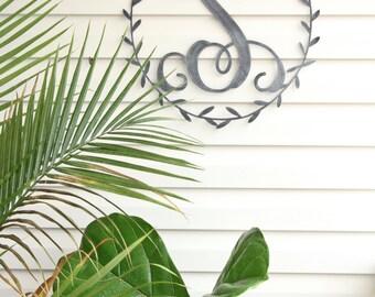 Metal Monogram Wreath Door Hanger  |  home decor front door personalized gift for her