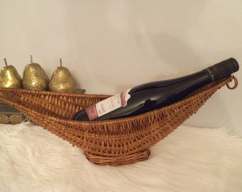 Vintage Woven Wicker Wine Basket ~ Oblong Wine holder ~ Jungalow