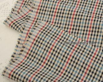 Stripes Plaid Cotton Fabric, Yarn Dye Grey Beige Blue Yellow Check Stripes Cotton Vintage Style- 1/2 Yard