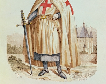 Portrait of Jacques de Molay (c.1243-1314) Master of the Knights of the Templar. Fine Art Print/Poster. (003628)