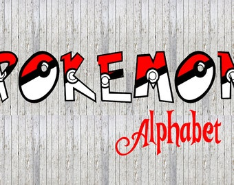 Pokemon Pokeball 26 Alphabet Images - Party Event Party Alphabet Letter Pack! Pikachu, Squirtle, Ash, Charmander