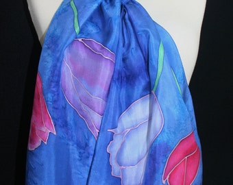 Blue Silk Scarf Handpainted. Azure Blue, Pink Hand Painted Silk Shawl. Handmade Silk Scarf FOUR TULIPS, size 8x54. Birthday, Bridesmaid Gift