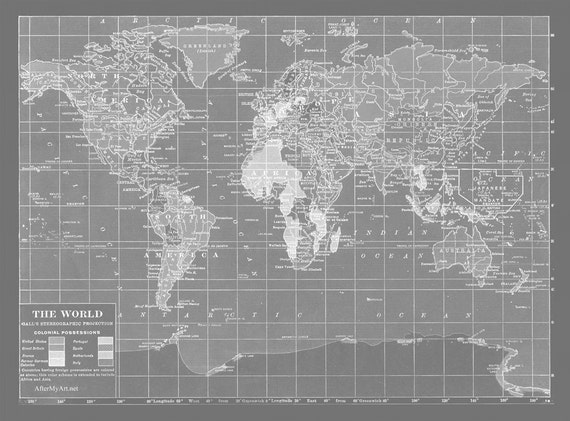 Map fabric map of the world minimalist grey version fat gumiabroncs