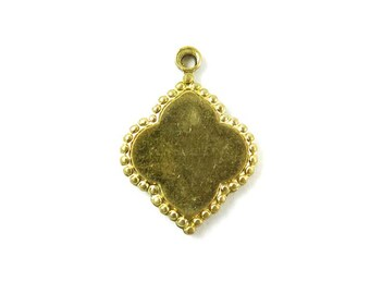 Heavy Brass Engraving Decorative Drop Charms (4X) (M626)