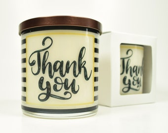 Thank You Candle - Natural Soy Candle, 12 oz Glass Soy Candle, Gift Idea, Message Candle, Scented Candles Handmade, Thank You Gift Candle